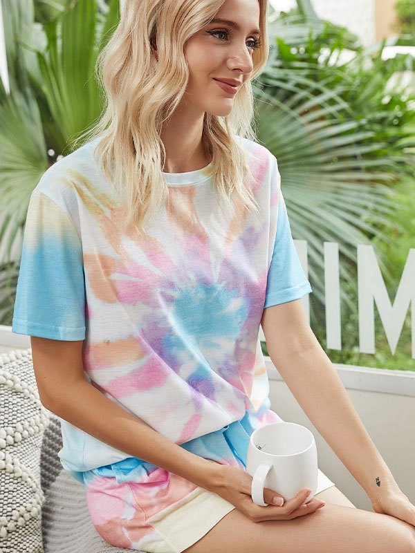 Tie Dye Top & Short Lounge Set - As The Picture S