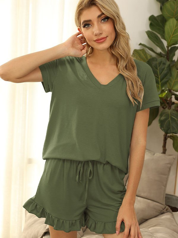 V Neck Top & Ruffle Short Lounge Set - Chive S