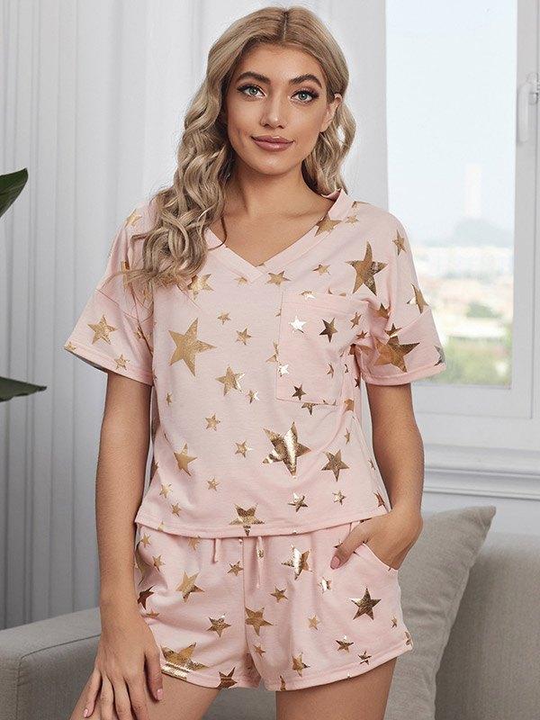 Star Print Top & Shorts Lounge Set - Pink L