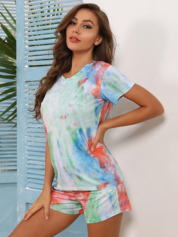 Tie Dye Print Top & Shorts Set - Green L