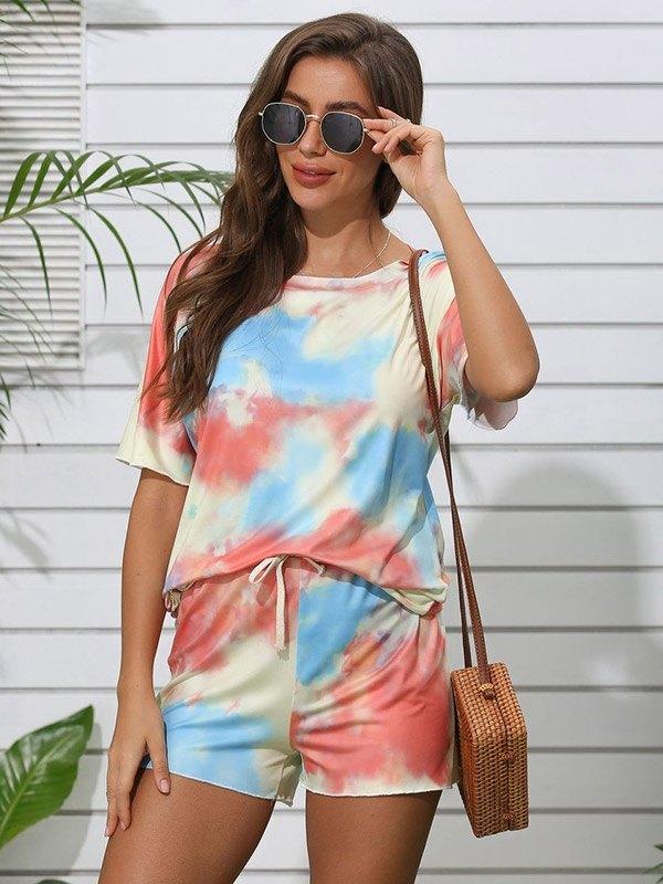 Tie Dye Print Top & Shorts Set - Orange L