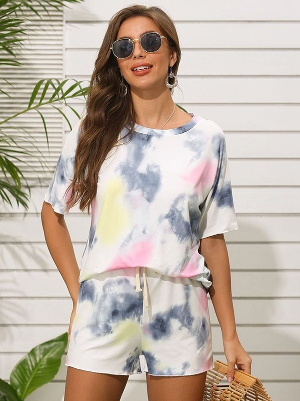 Tie Dye Print Top & Shorts Set - Grey M