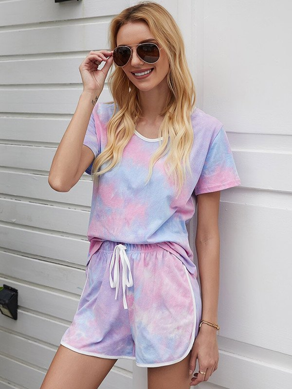 Tie Dye Top & Drawstring Shorts Set - As The Picture S