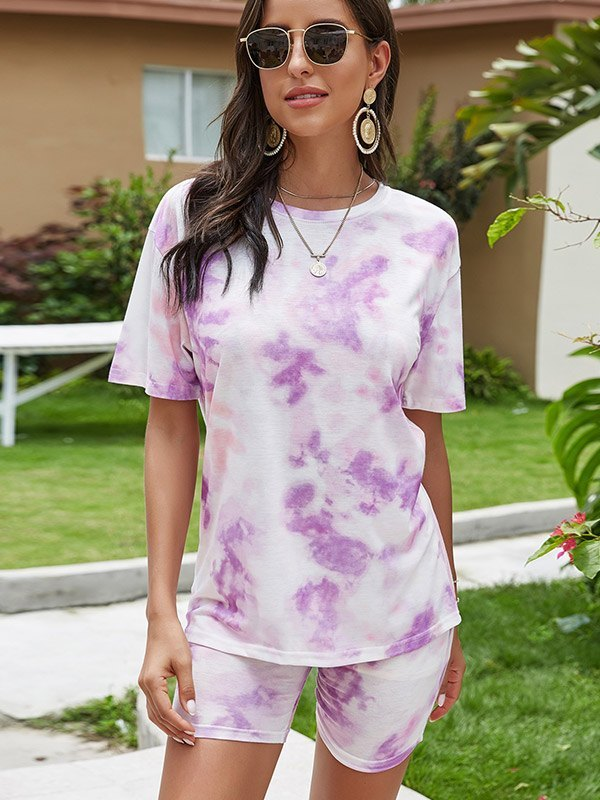 Tie Dye Drop Shoulder Top & Biker Shorts Set - Lilac XL