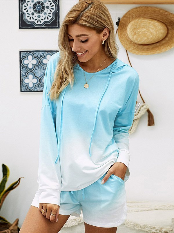 Ombre Hoodie & Shorts Lounge Set - Blue M