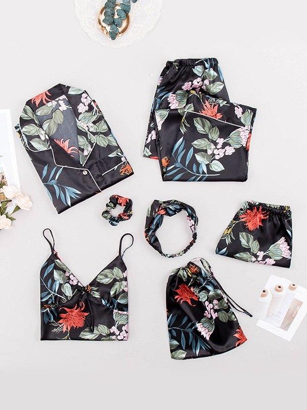 7Pcs Floral Print Satin Pajama Set - Floral Print L