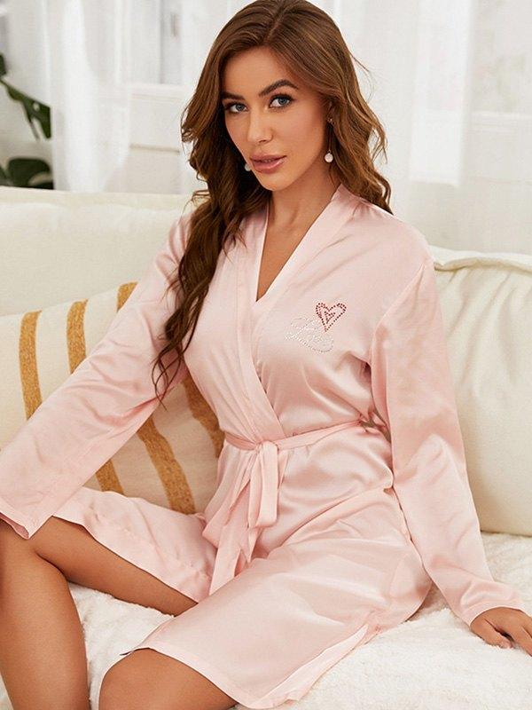 Crystal Heart Satin Self Tie Night Robe - Pink M