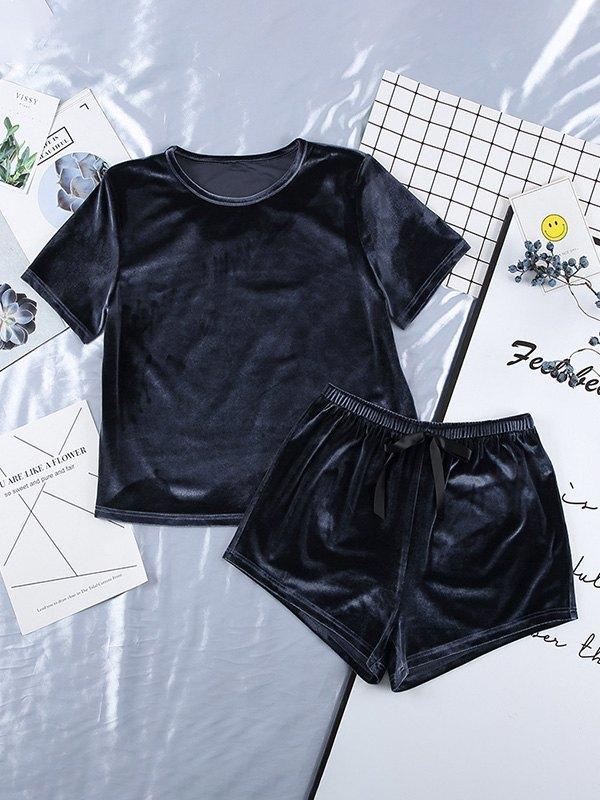 Velvet Top & Shorts Pajama Set - Navy Blue L