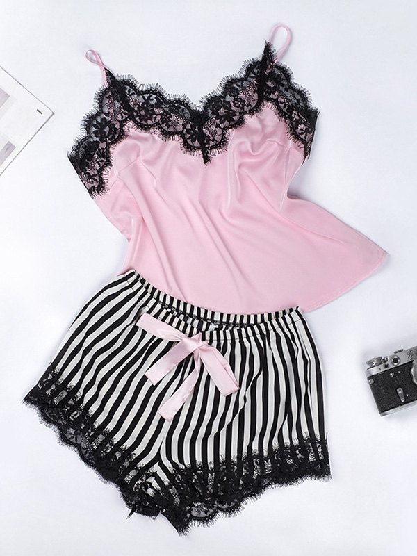Lace Trim Satin Cami Top & Shorts Pajama Set - As The Picture L