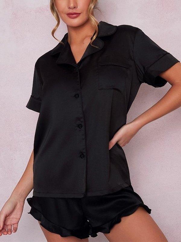 Pocket Front Top & Frill Hem Shorts PJ Set - Black S