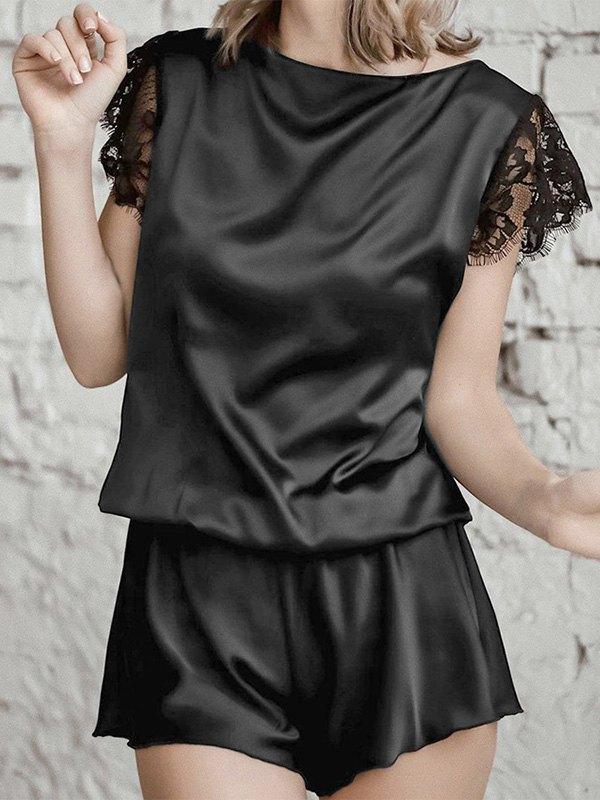 Lace Trim Sleeve Top & Shorts Pj Set - Black S