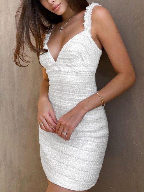 Robe débardeur en tweed à bordure effilochée - Blanc L