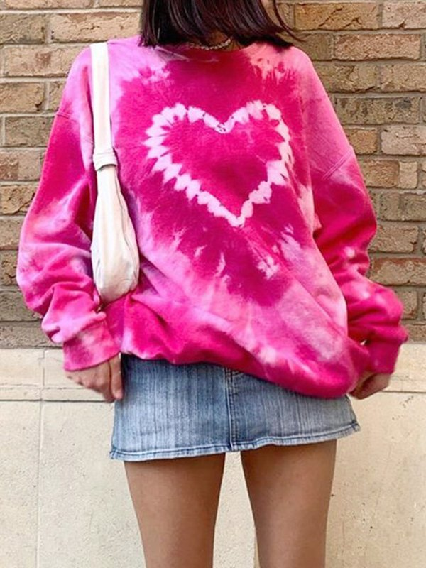 Heart Graphic Tie Dye Sweatshirt - Red M