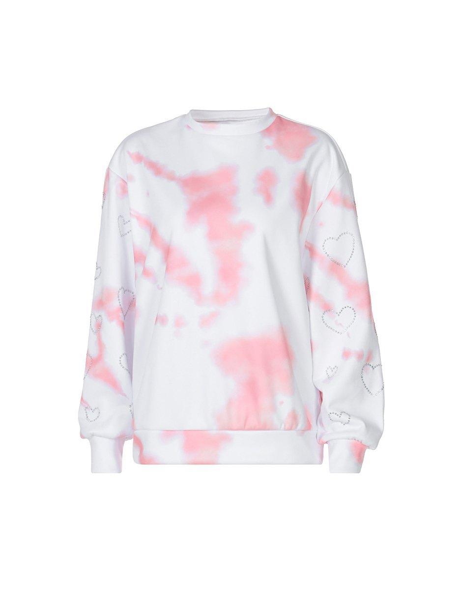 Rhinestone Heart Decor Tie Dye Sweatshirt - Pink L