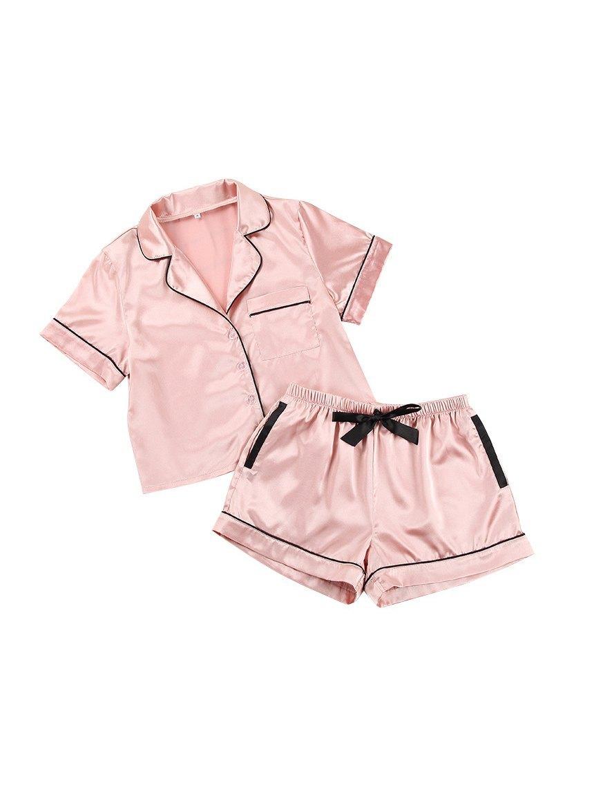 Contrast Binding Crop Top & Shorts Pajama Set - Pink L