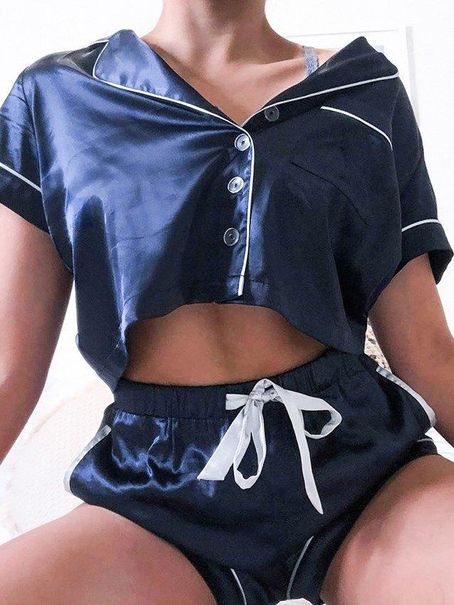Contrast Binding Crop Top & Shorts Pajama Set - Blue S