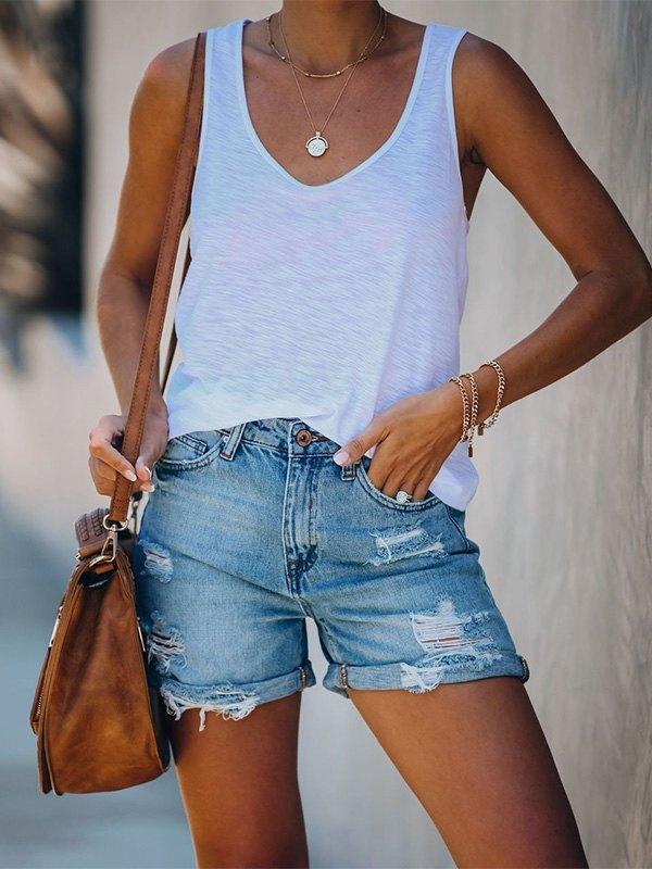 Ripped Cuffed Denim Shorts - Blue XL