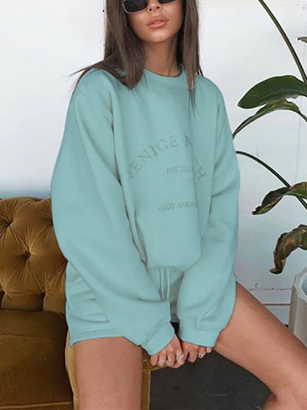 Letter Graphic Drop Shoulder Sweatshirt - Mint L