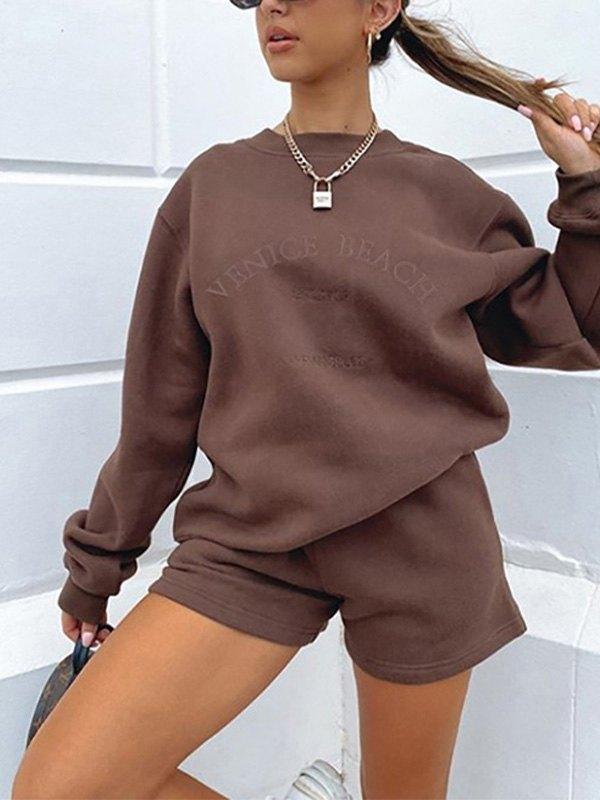 Letter Graphic Drop Shoulder Sweatshirt - Coffee M