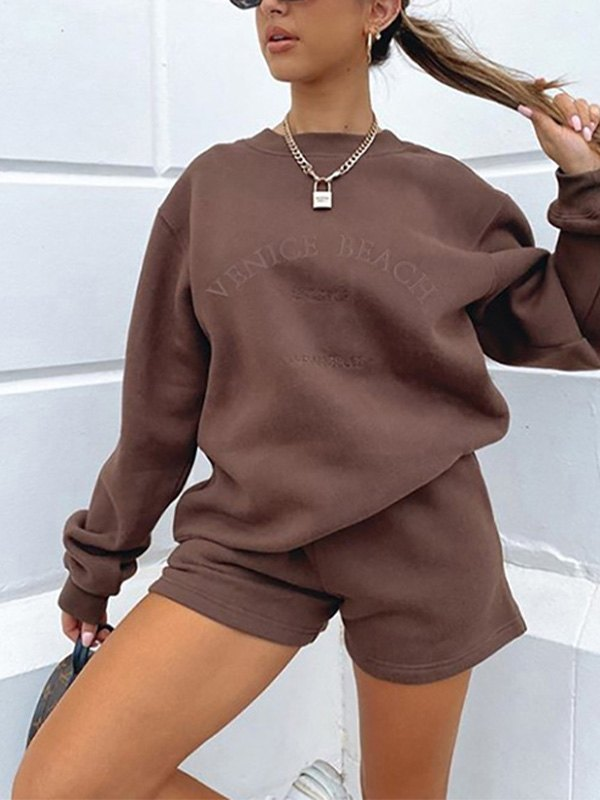 Letter Graphic Drop Shoulder Sweatshirt - Coffee L