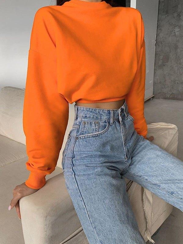 Drop Shoulder Solid Crop Hoodie - Orange S