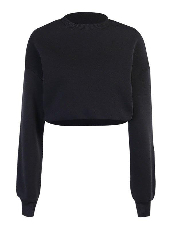 Drop Shoulder Solid Crop Hoodie - Black S
