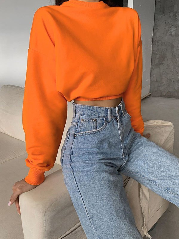 Drop Shoulder Solid Crop Hoodie - Orange L