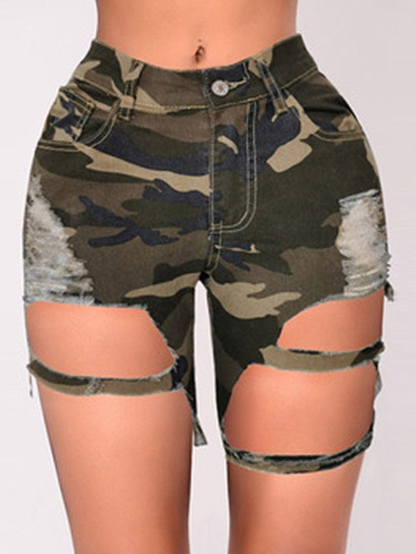 Ripped Denim Biker Shorts - Camo XL