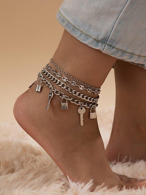 Key Lock Decor Anklet Set - Silver ONE SIZE