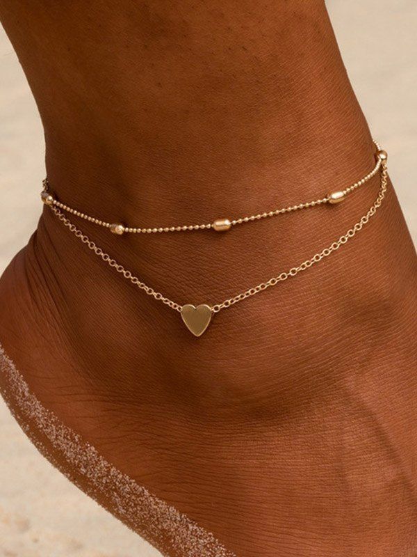 Heart Decor Layered Anklet - Golden ONE SIZE