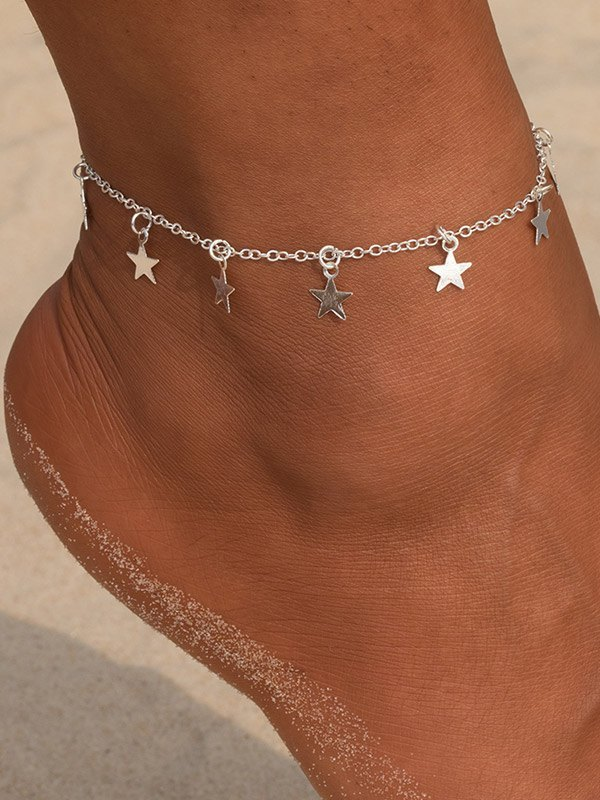 Simple Star Pendant Anklet - Silver ONE SIZE