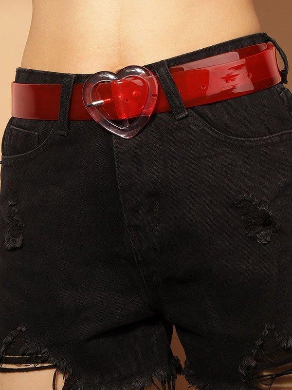 Cintura con fibbia decorata a cuore trasparente - Rosso ONE SIZE
