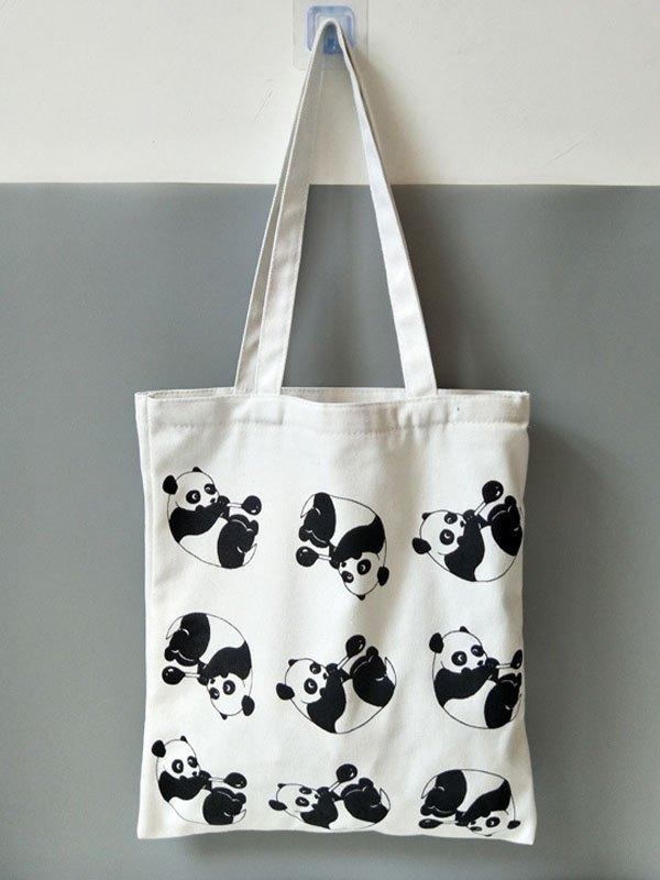 Simpatica borsa di tela Panda - Bianca ONE SIZE
