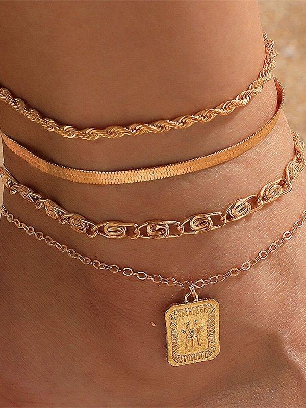 Twist Chain Anklet Set - Golden ONE SIZE