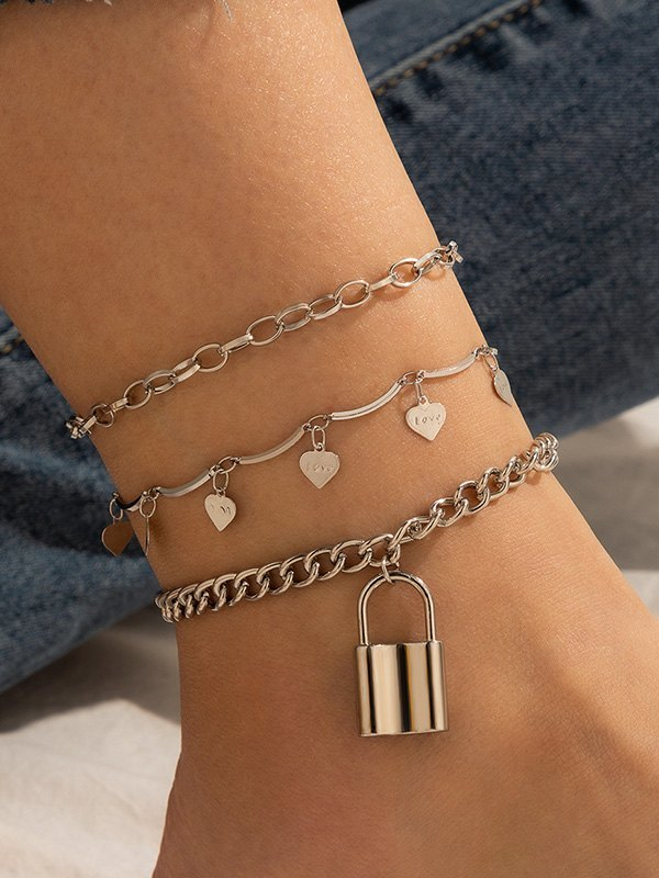 Heart Decor Anklet Set - Golden ONE SIZE