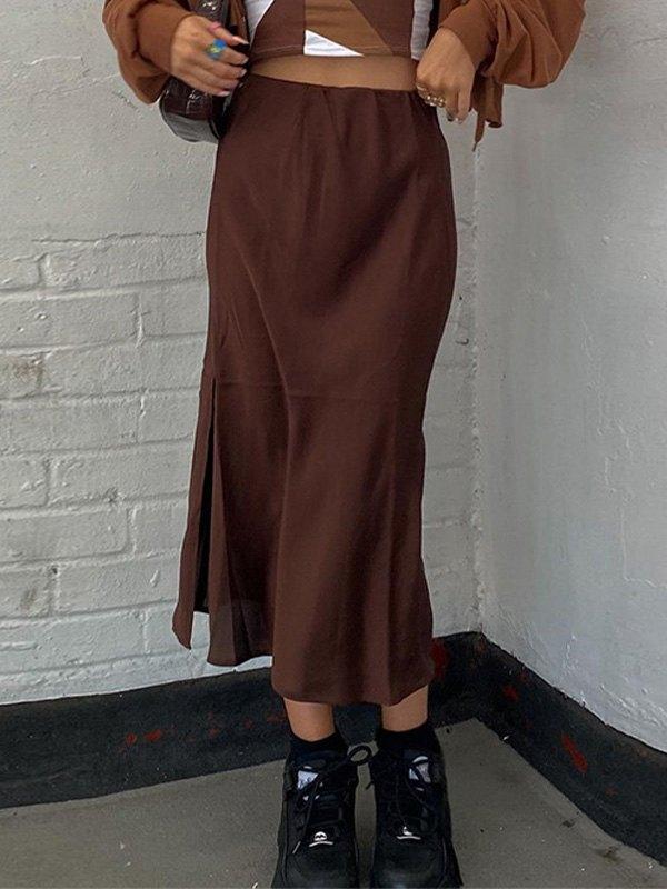 Vintage Split Midi Skirt - Brown S