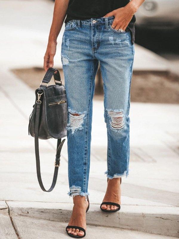 Ripped Curvy Slim Jeans - Blue 3XL