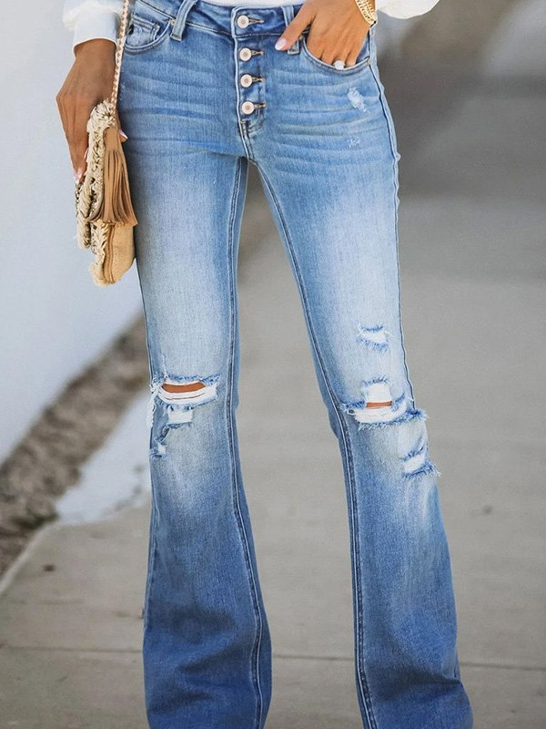 Mid Rise Ripped Flare Jeans - Blue 2XL
