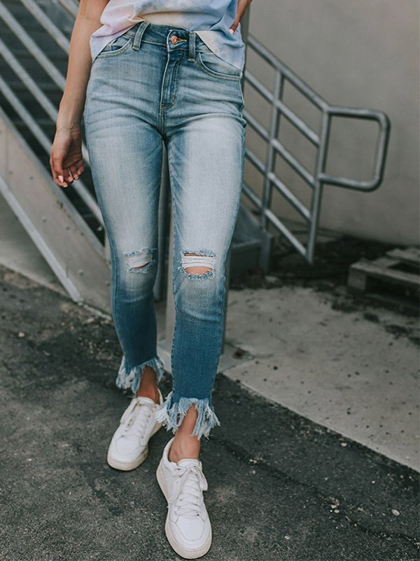 Cropped Ripped Slim Jeans - Blue L