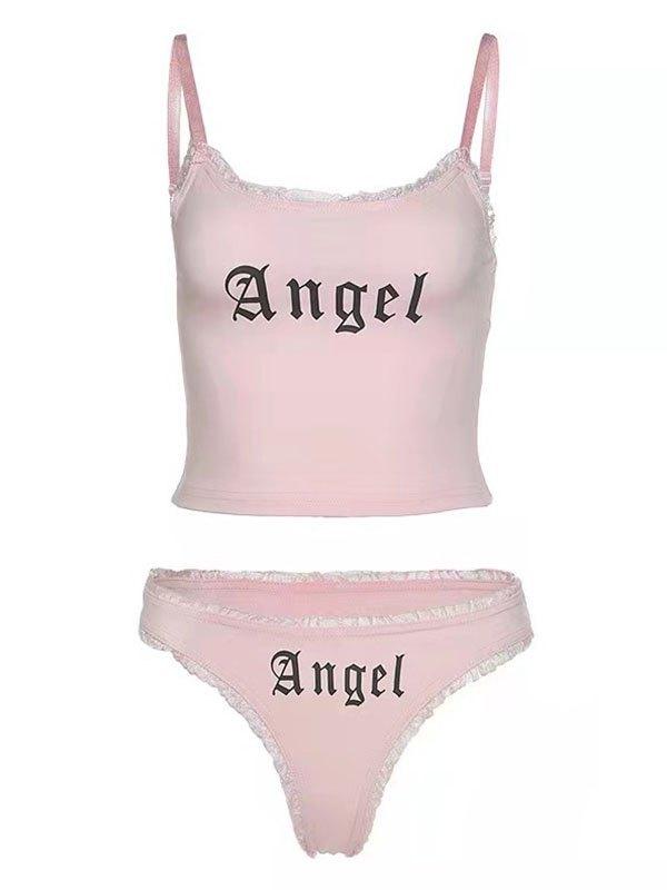Angel Print Pajama Set - Pink L