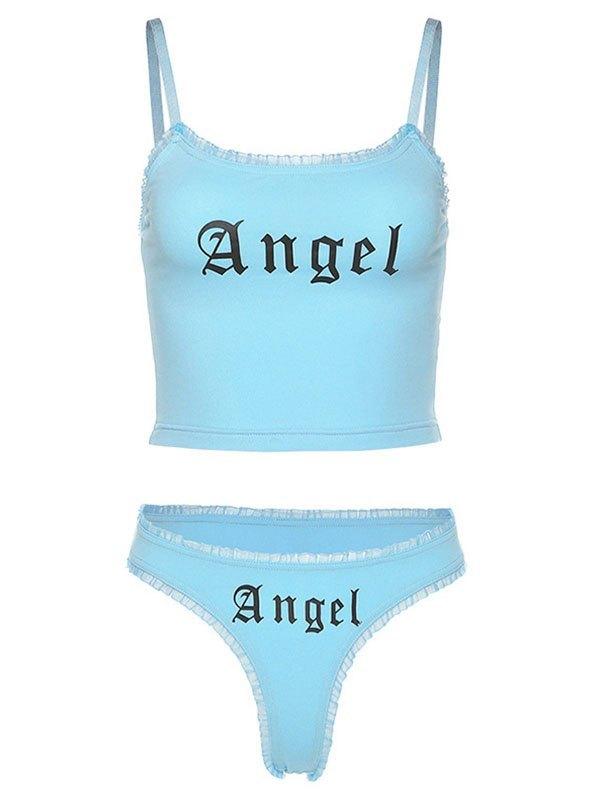 Angel Print Pajama Set - Blue L