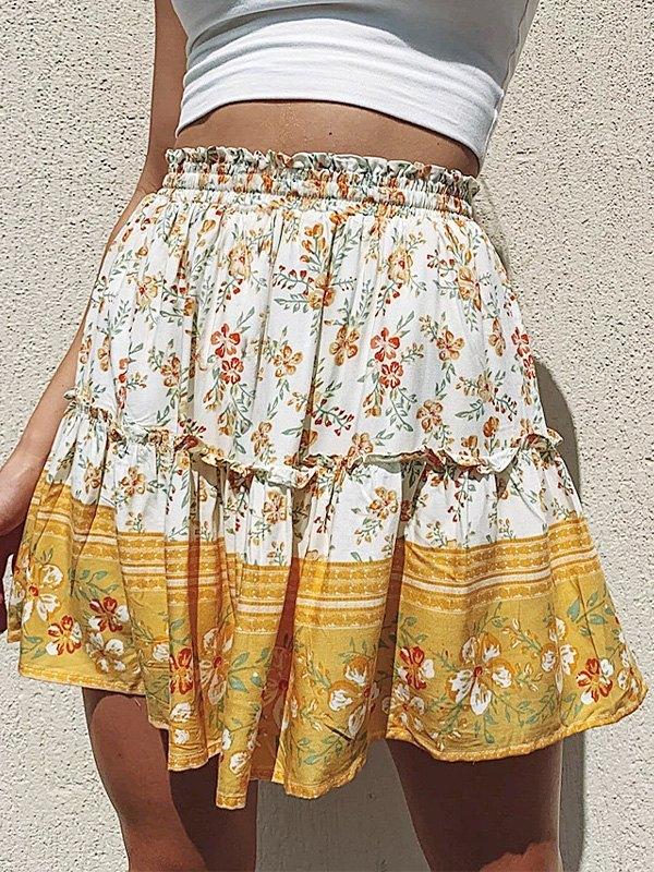 Boho Printed Mini Skirt -