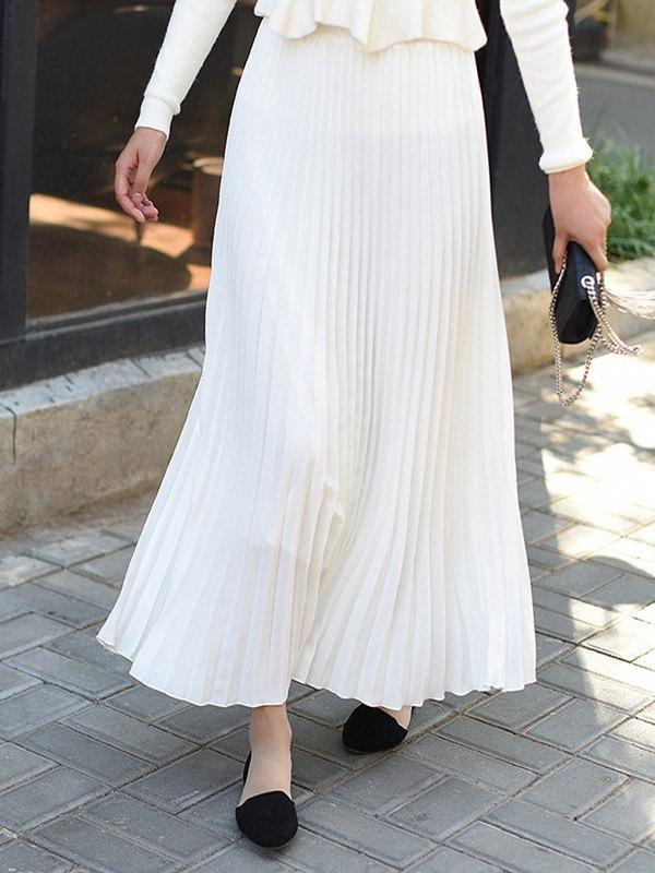High Waisted Pleated Maxi Skirt - White S