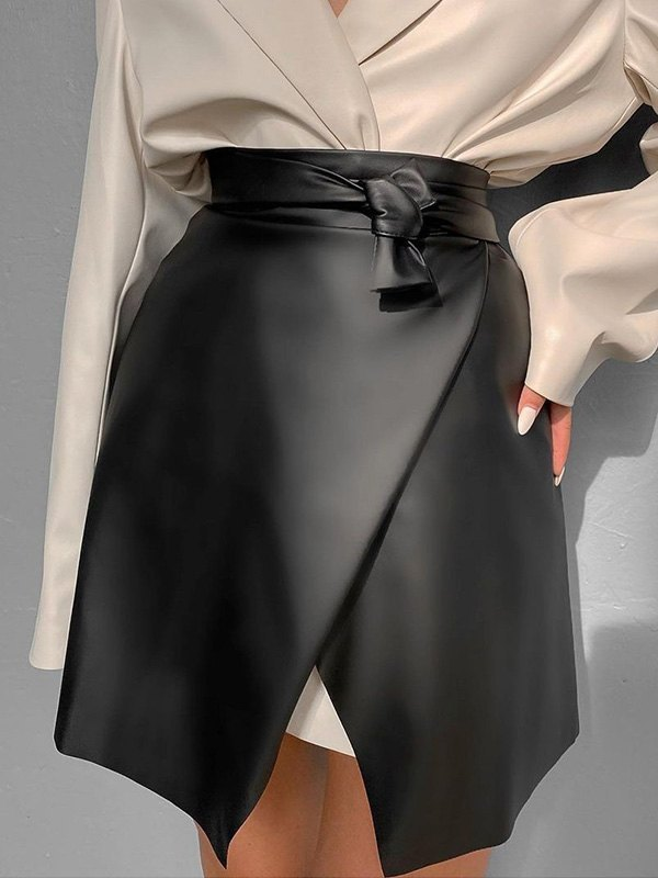 Irregular Pu Leather Mini Skirt -