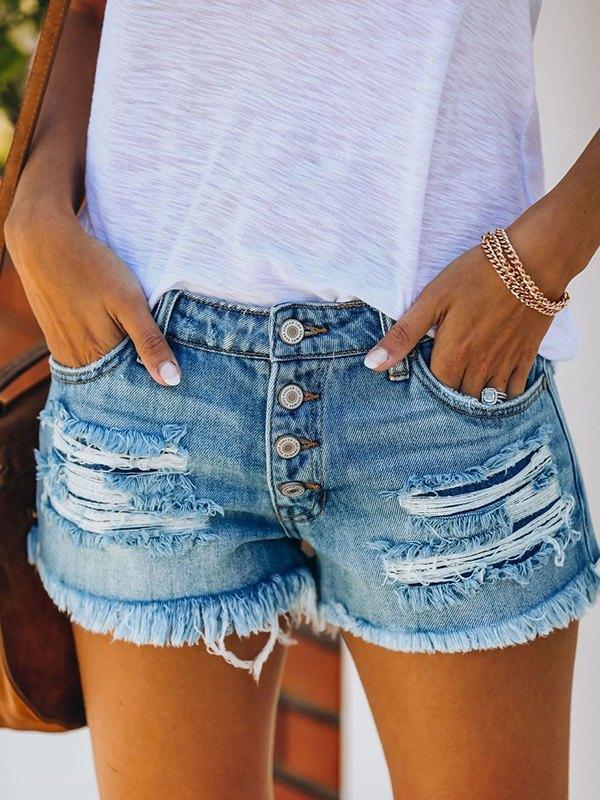 Buttoned Mid Rise Denim Shorts - Blue 2XL