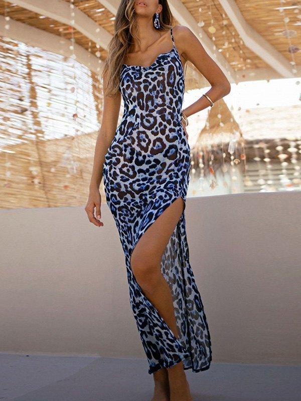 Leopard Split Sling Maxi Dress -