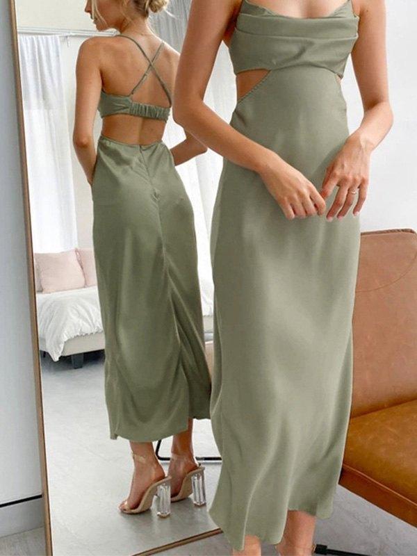 Satin Cutout Maxi Dress - Green S