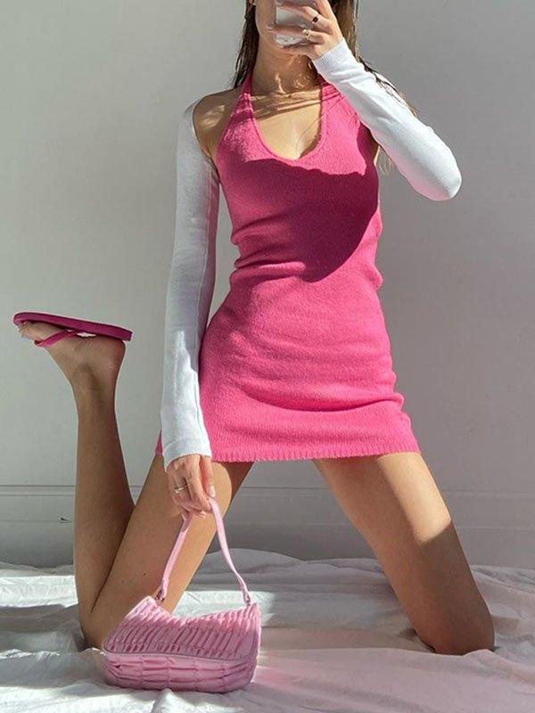 Halter Long Sleeve Bodycon Mini Dress - Pink S