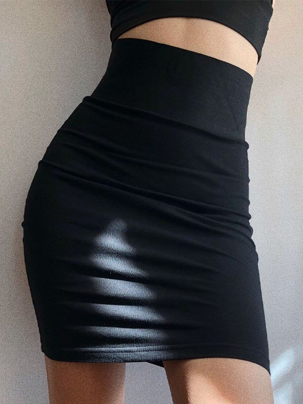 Stretch Wrap Mini Skirt - Black L