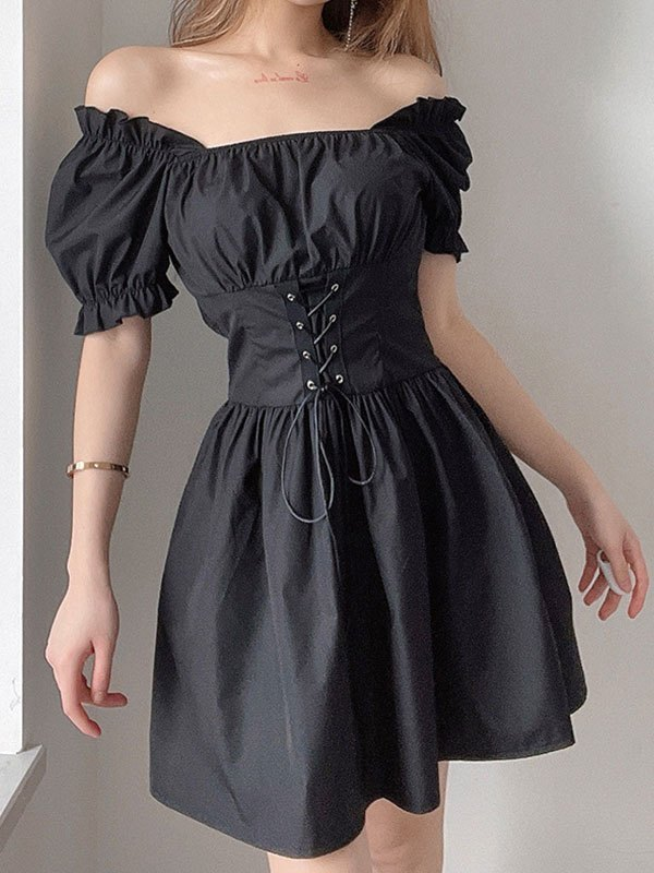 Short Sleeve Corset Mini Dress - Black L